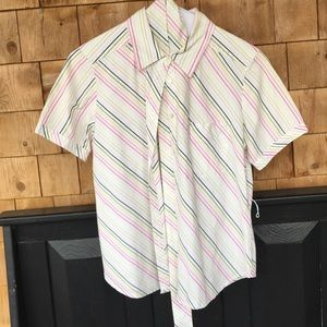 Talbots striped button down with matching belt